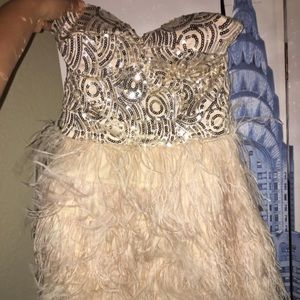 Bebe sequin ostrich feather dress